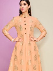 Cotton Satin Foil print Orange Casual Kurti