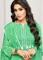 Cotton Satin Green Embroidered Designer Pakistani Suit