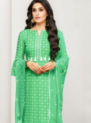 Cotton Satin Green Embroidered Designer Pakistani Suit