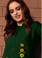 Cotton Satin Green Embroidered Party Wear Kurti