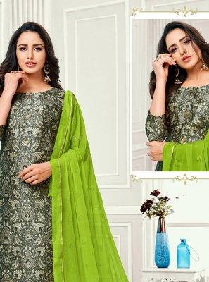 Cotton Satin Grey Embroidered Designer Salwar Kameez
