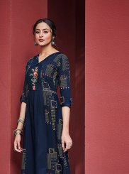 Cotton Satin Navy Blue Embroidered Casual Kurti