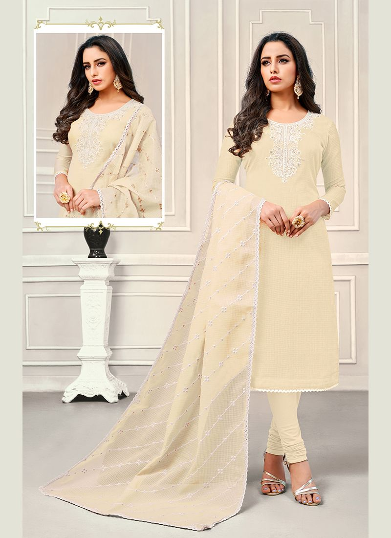 Cotton Satin Off White Embroidered Designer Salwar Kameez