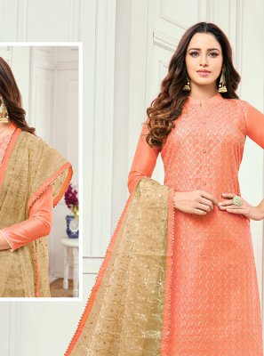 Cotton Satin Peach Salwar Kameez