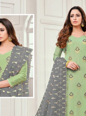 Cotton Satin Salwar Kameez in Green