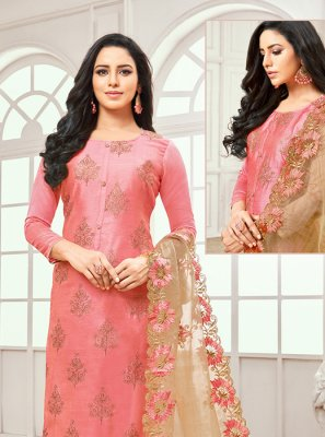 Cotton Satin Salwar Kameez in Pink