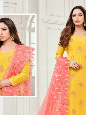 Cotton Satin Yellow Embroidered Salwar Kameez
