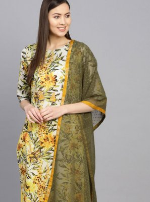 Cotton Sea Green and Yellow Floral Print Casual Kurti