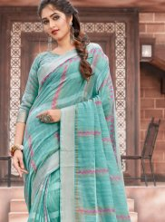 Cotton Sea Green Classic Saree