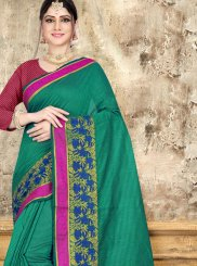 Cotton Sea Green Saree