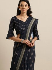 Cotton Silk Abstract Print Printed Saree in Black