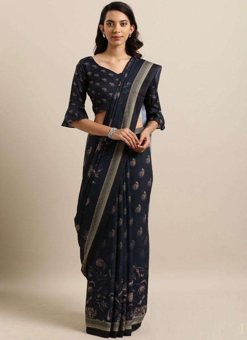 Cotton Silk Abstract Print Printed Saree in Black