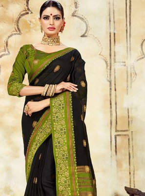 Cotton Silk Black Designer Traditional Saree
