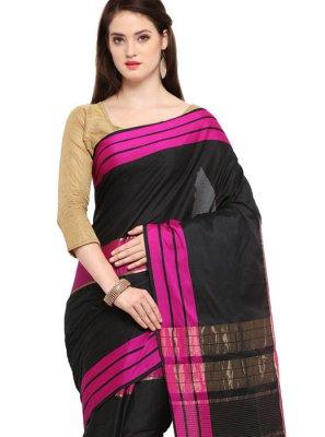 Cotton Silk Black Woven Traditional Saree