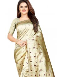 Cotton Silk Cream Traditional Designer Saree
