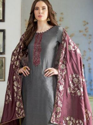 Cotton Silk Designer Pakistani Suit in Grey