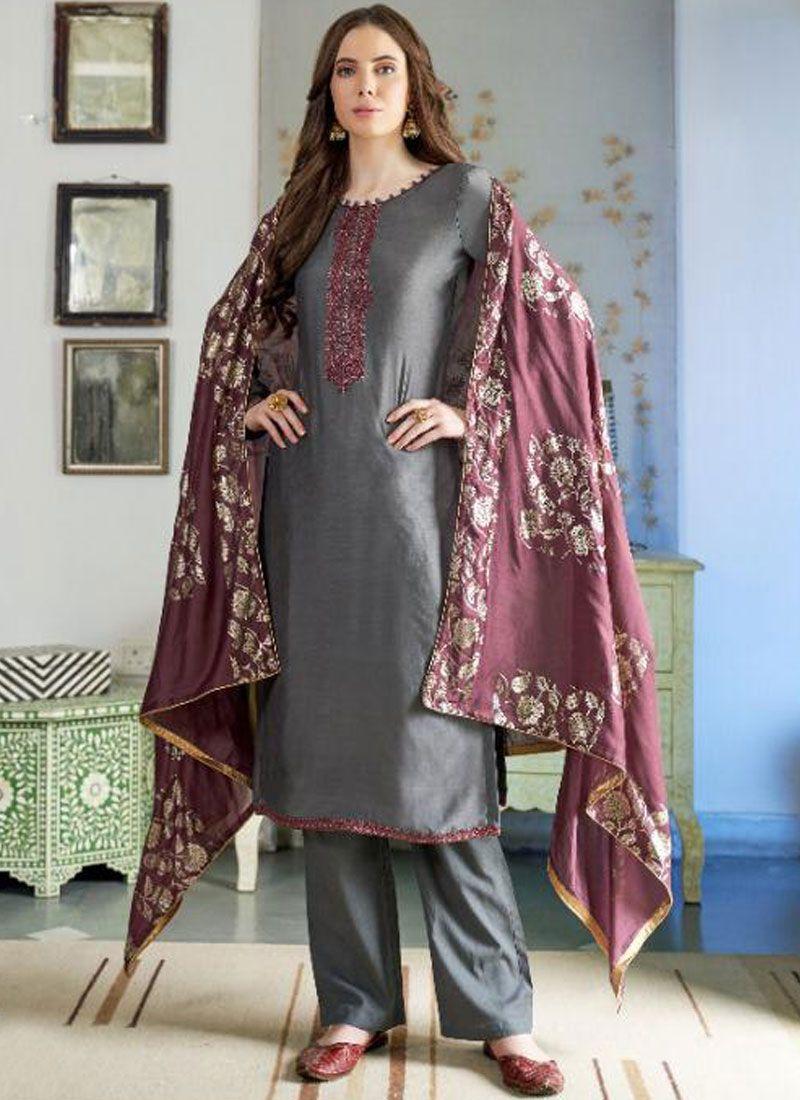 Cotton Silk Designer Pakistani Suit in Grey
