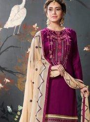 Cotton Silk Designer Patiala Salwar Kameez in Purple