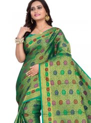 Cotton Silk Designer Traditional Saree in Green