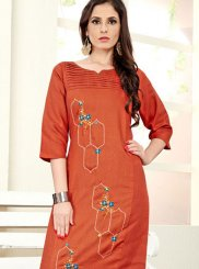 Cotton Silk Embroidered Casual Kurti