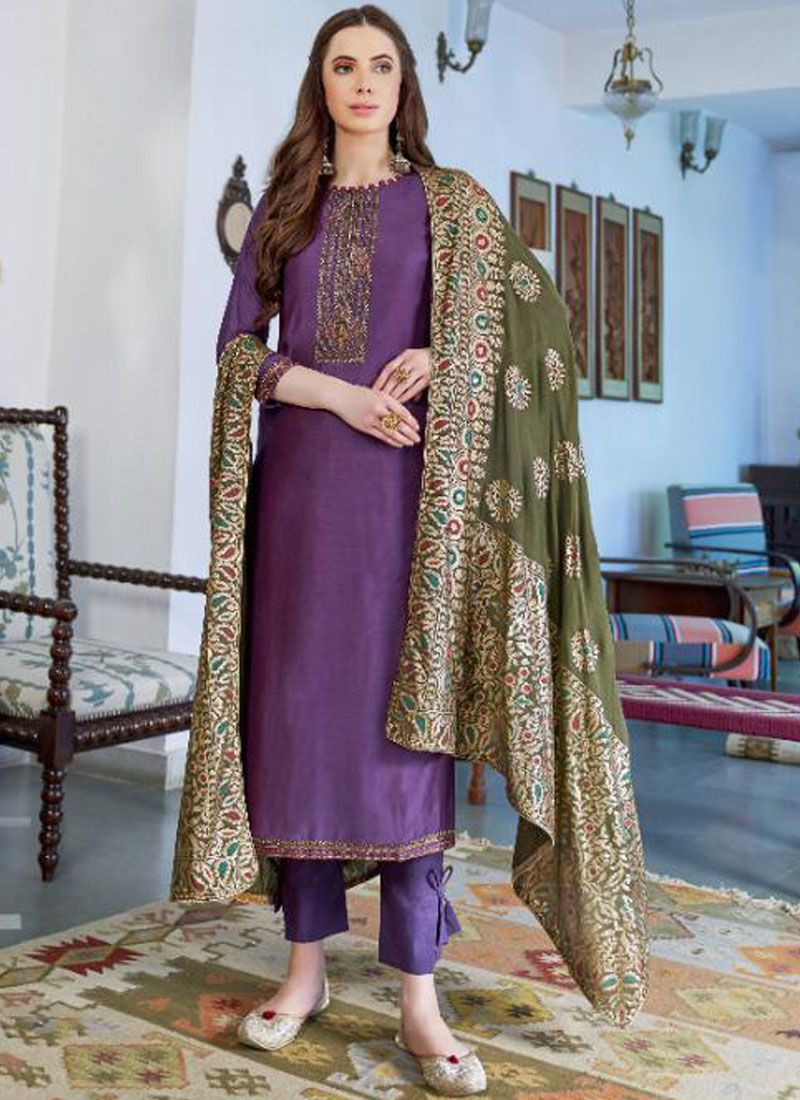 Cotton Silk Embroidered Designer Pakistani Suit in Purple