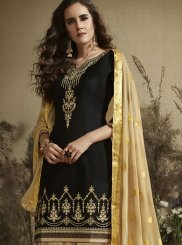 Cotton Silk Embroidered Designer Patiala Suit in Black