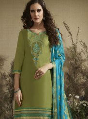 Cotton Silk Embroidered Green Punjabi Suit