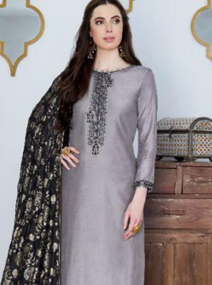 Cotton Silk Embroidered Grey Designer Pakistani Suit