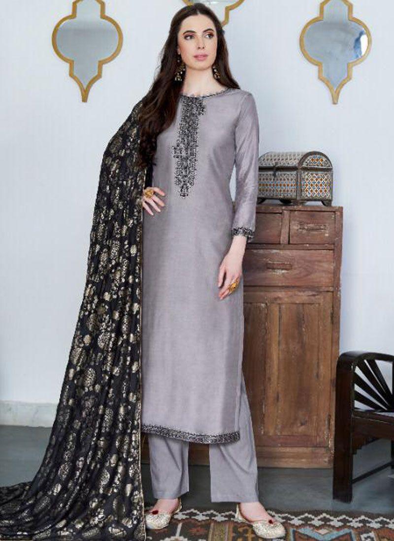 Cotton Silk Embroidered Grey Designer Pakistani Suit