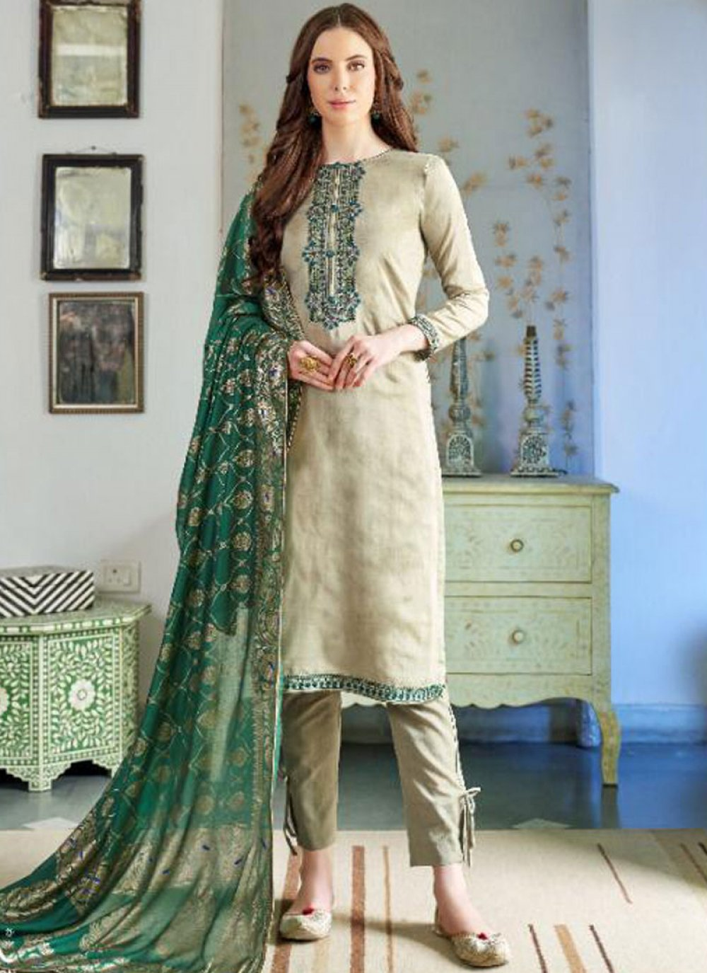Cotton Silk Embroidered Pakistani Salwar Suit
