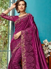Cotton Silk Embroidered Purple Designer Traditional Saree