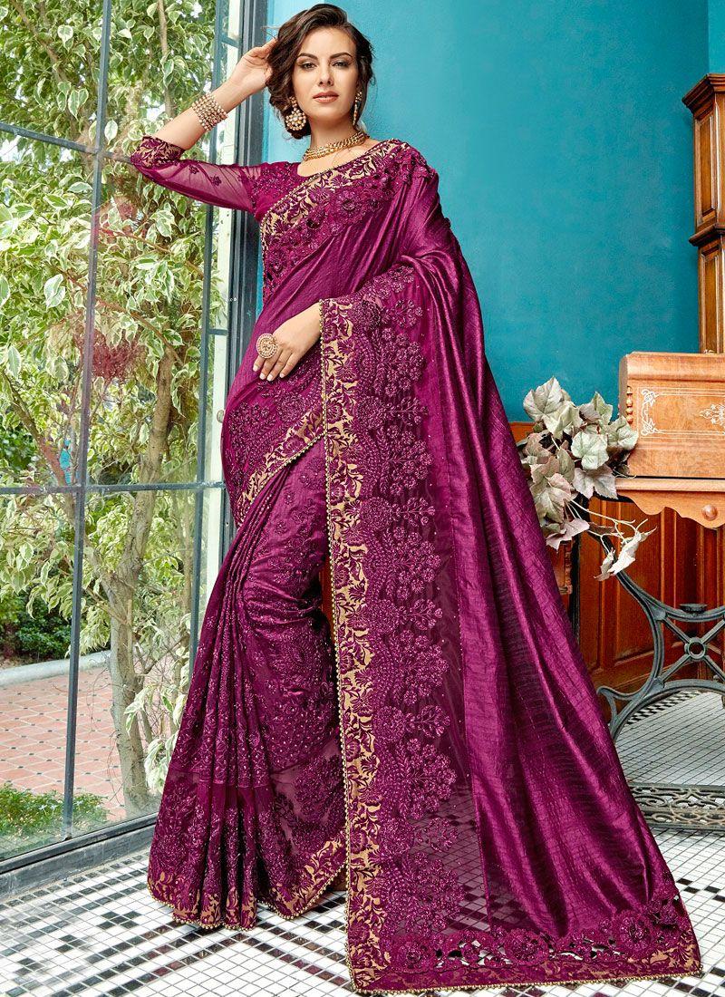 Cotton Silk Embroidered Purple Designer Traditional Saree