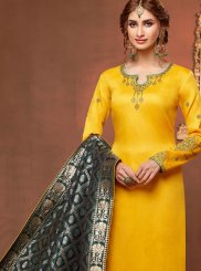 Cotton Silk Embroidered Yellow Churidar Salwar Kameez