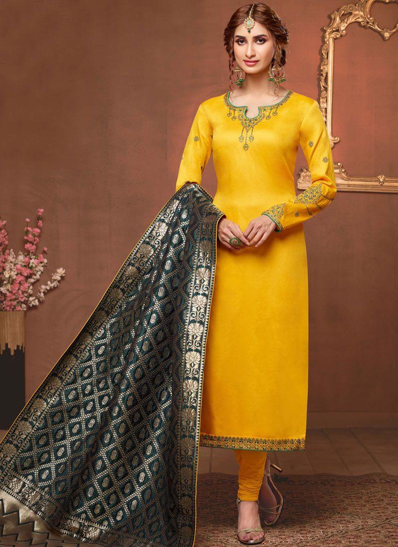 Cotton Silk Embroidered Yellow Churidar Salwar Kameez