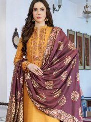 Cotton Silk Embroidered Yellow Designer Pakistani Suit