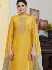 Cotton Silk Embroidered Yellow Designer Palazzo Suit