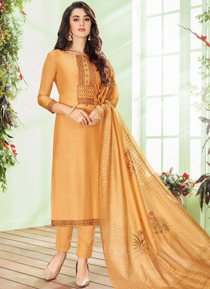 Cotton Silk Gold Embroidered Pant Style Suit