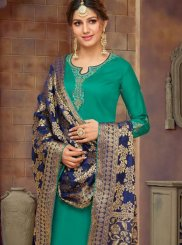 Cotton Silk Green Churidar Salwar Suit