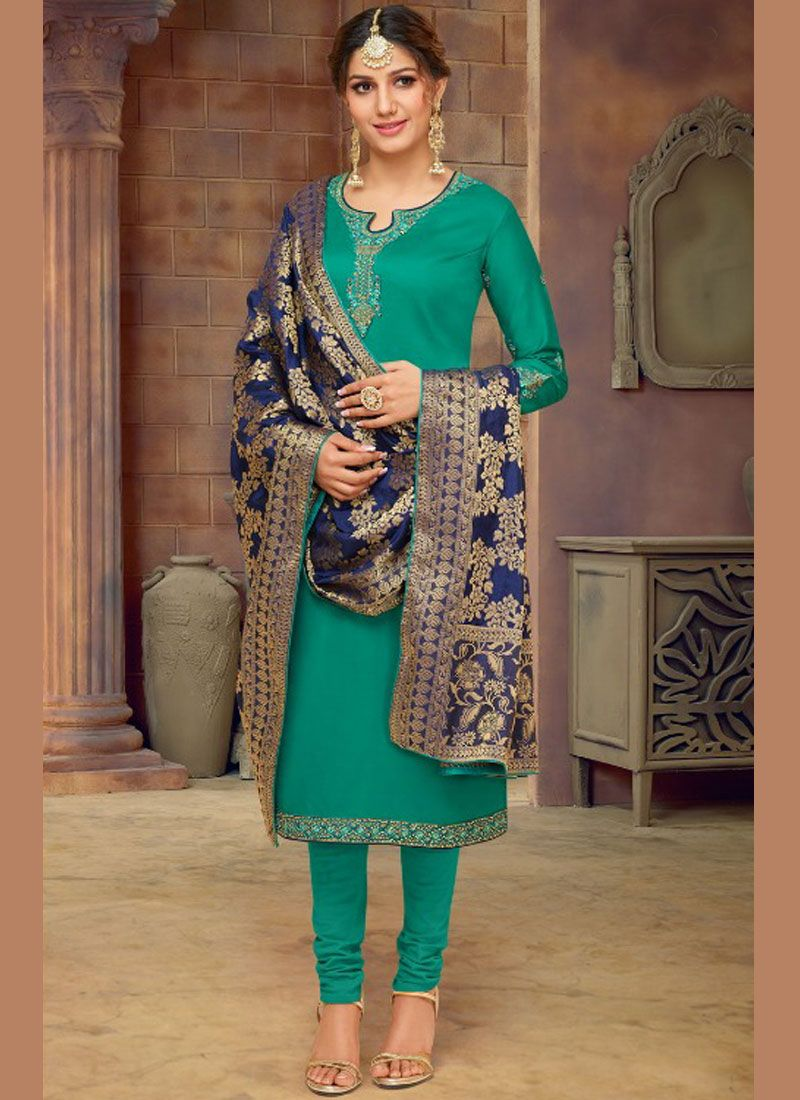Cotton Silk Green Churidar Salwar Suit