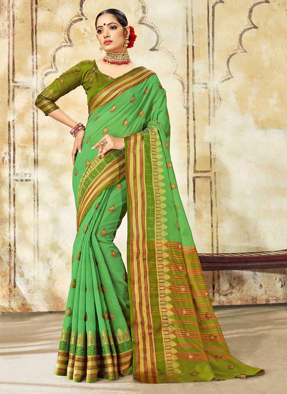 Cotton Silk Green Designer Traditional Saree