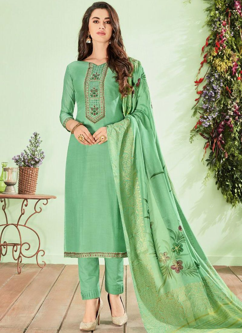 Cotton Silk Green Embroidered Pant Style Suit