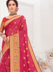 Cotton Silk Hot Pink Designer Traditional Saree