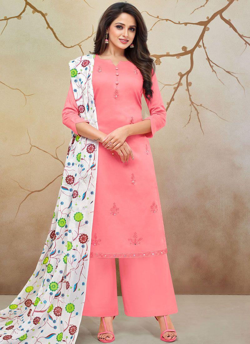 Cotton Silk Hot Pink Print Palazzo Designer Salwar Kameez