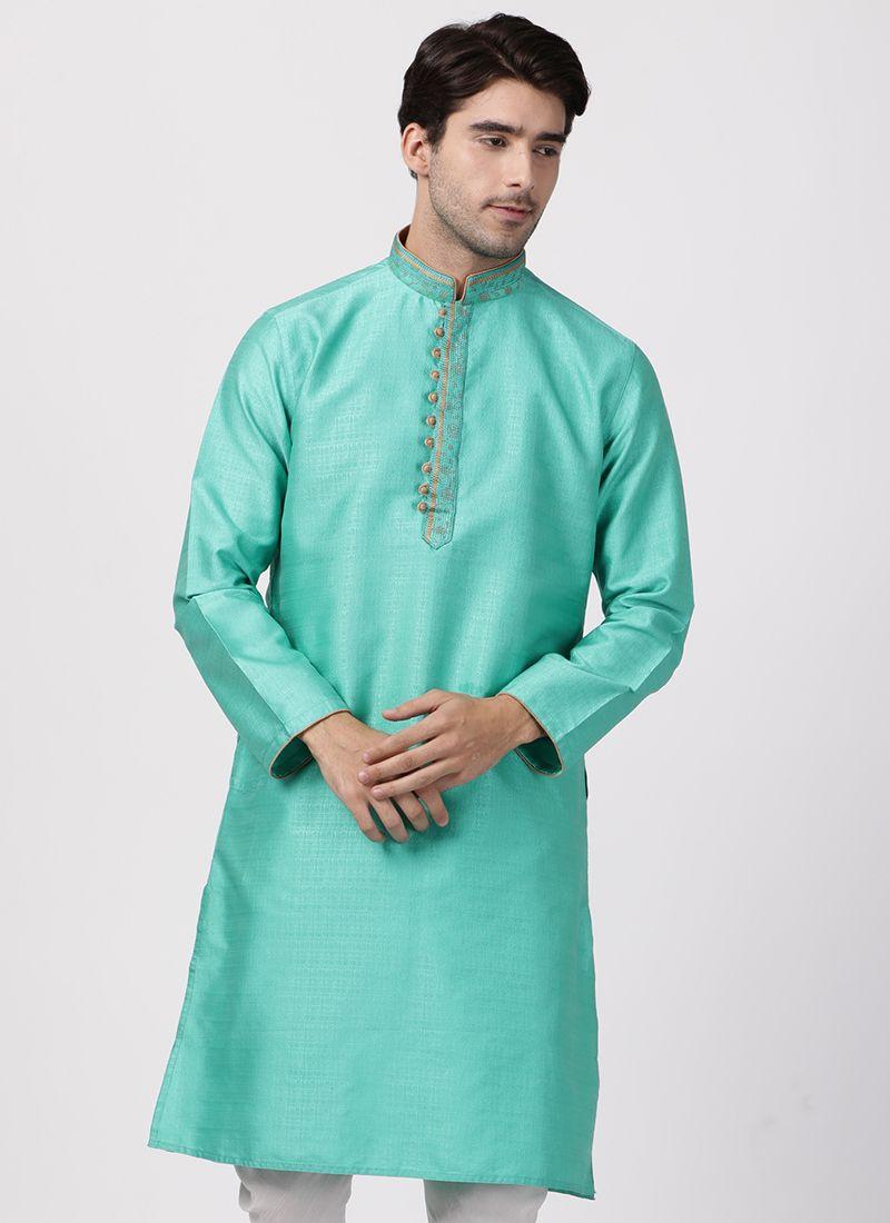 Cotton Silk Kurta Pyjama in Green