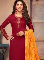 Cotton Silk Maroon Embroidered Churidar Suit