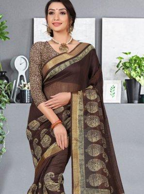 Cotton Silk Multi Colour Abstract Print Printed Saree