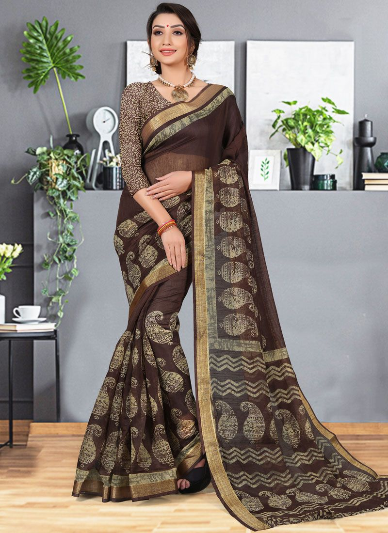 Cotton Silk Multi Colour Abstract Print Printed Saree
