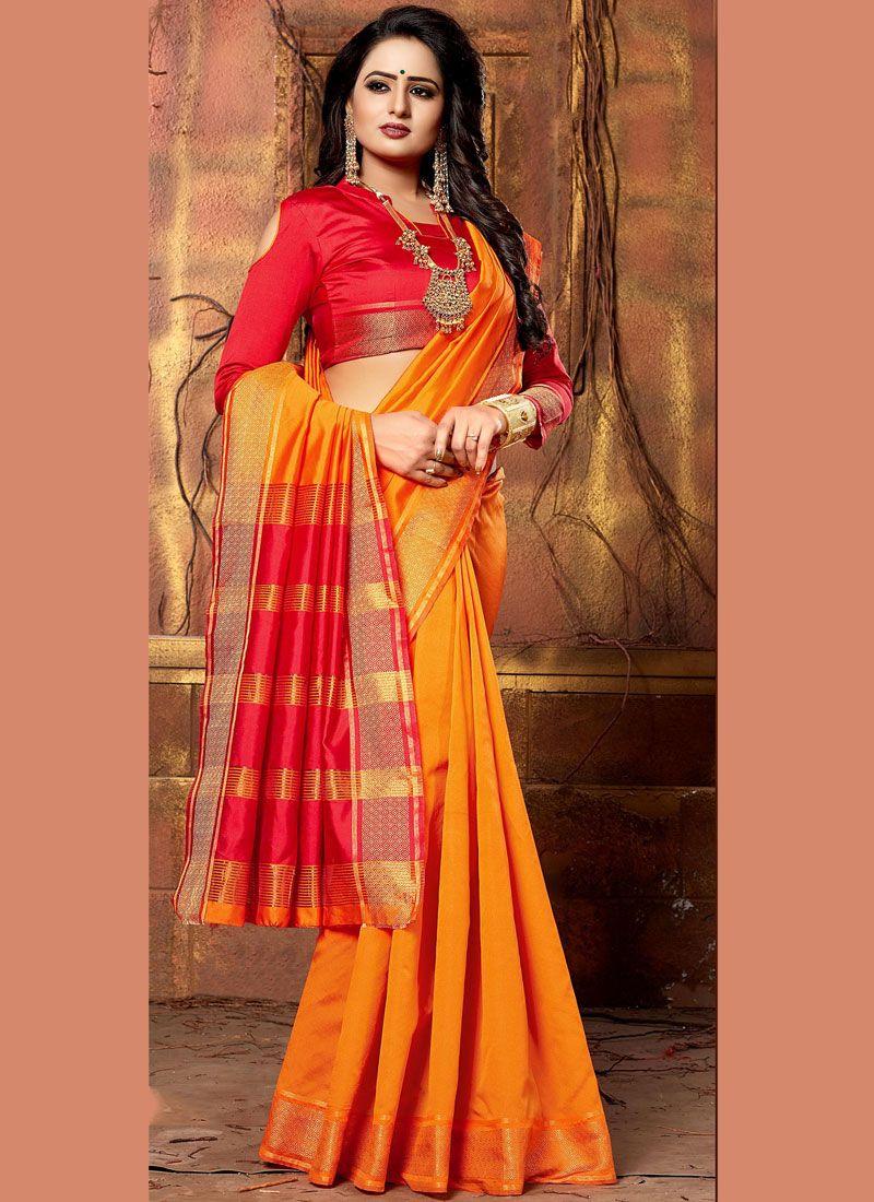 Cotton Silk Orange Patch Border Traditional Saree