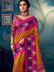 Cotton Silk Orange Weaving Designer Traditional Saree