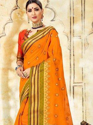 Cotton Silk Orange Woven Traditional Saree